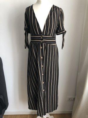 Gestreiftes Kleid | Schwarz, Beige