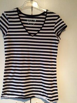 Gestreiftes Kurzarm T-Shirt in schwarz - weiß