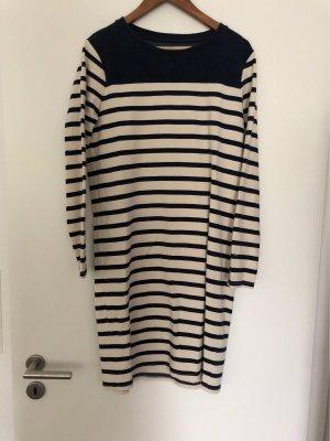 Basefield Sukienka z długim rękawem biały-ciemnoniebieski