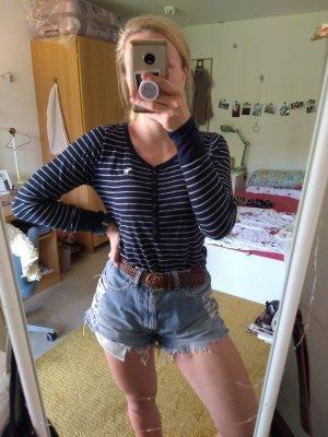 Abercrombie & Fitch T-shirt rayé blanc-bleu polyester