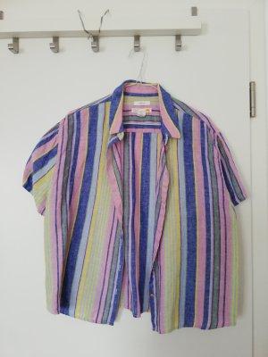 C&C California Blusa in lino rosa-azzurro