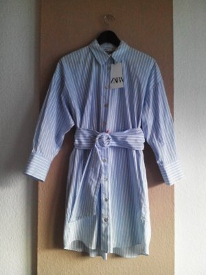 gestreiftes Mini-Hemdblusenkleid aus 100% Baumwolle, Grösse M, neu