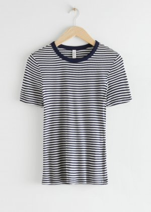& other stories Ribbed Shirt white-dark blue