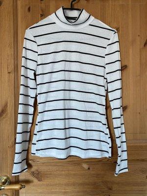 Sheinside Camisa de cuello de tortuga negro-blanco