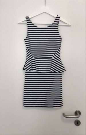 H&M Peplum Dress white-dark blue