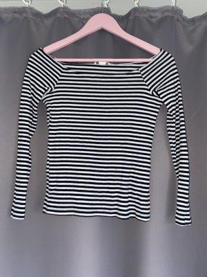 H&M Basic Koszulka z dekoltem w łódkę biały-czarny