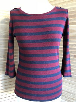 Gestreiftes Shirt mit 3/4Arm, bordo/blau, S.
