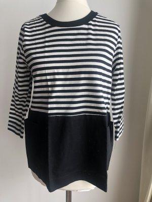 Gestreiftes Shirt mit Taschen | Schwarz Weiß