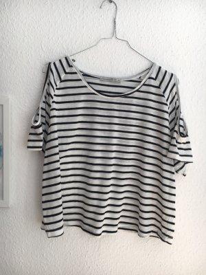Gestreiftes Shoulder-Cut-Outs Shirt
