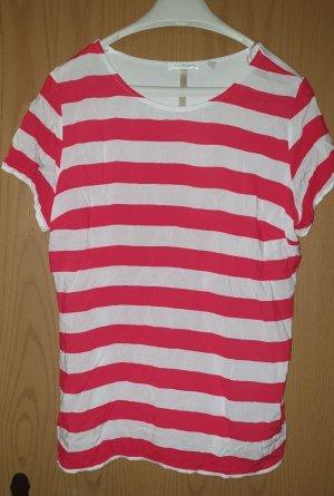 Charles Vögele Stripe Shirt white-raspberry-red viscose