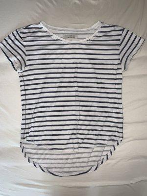 H&M T-shirt biały-ciemnoniebieski
