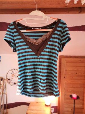 Gestreiftes T-Shirt mit Spitze