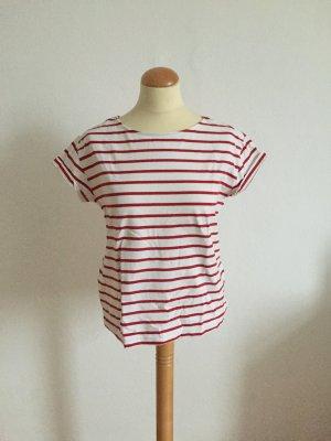 H&M Stripe Shirt white-brick red cotton