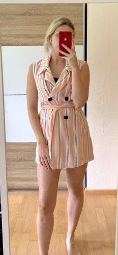 Stradivarius Vestido tipo blusón blanco-rosa empolvado