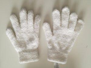 Gants en fourrure blanc polyester