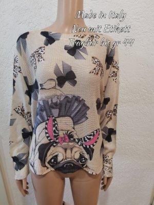 Made in Italy Pullover a maglia grossa nero-color carne