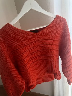 Topshop Coarse Knitted Sweater red
