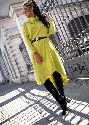 Bastet Sukienka z dzianiny limonkowy żółty