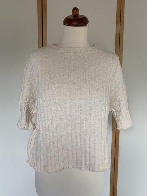 Gestricktes Shirt in Creme/weiß