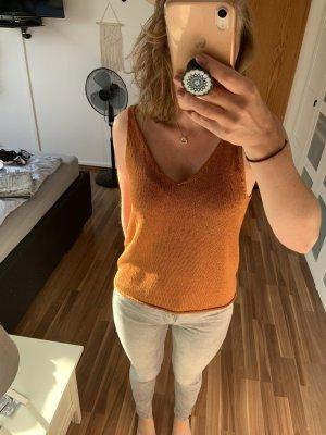 H&M Haut en crochet orange-orange foncé