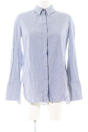 Gestuz Langarm-Bluse weiß-blau Streifenmuster Casual-Look