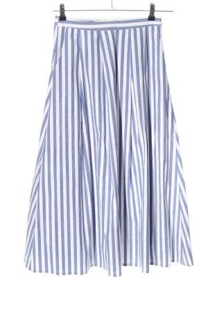 Gestuz Midirock blau-weiß Streifenmuster Casual-Look