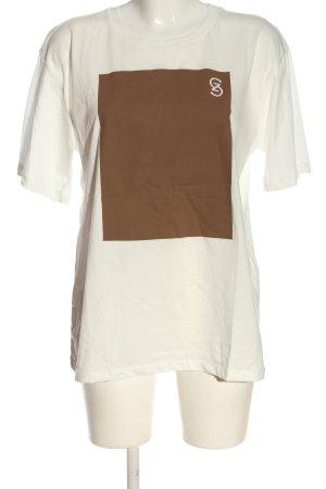 Gestuz Camiseta blanco-marrón estampado temático look casual
