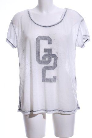 Gestuz T-shirt blanc-gris clair imprimé avec thème style décontracté