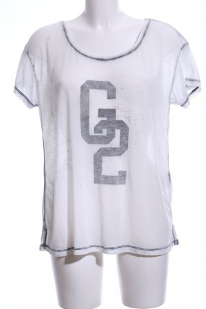 Gestuz T-Shirt weiß-hellgrau Motivdruck Casual-Look