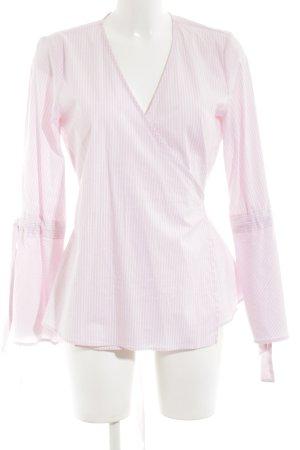 Gestuz Kopertowa bluzka biały-różowy Wzór w paski W stylu casual