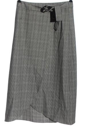 Gestuz Jupe portefeuille noir-gris clair motif à carreaux style décontracté