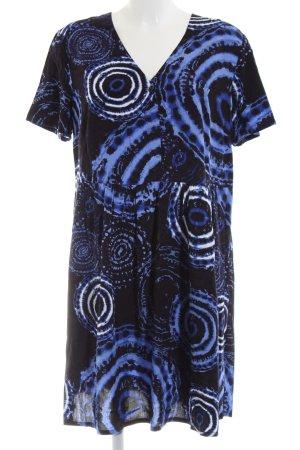 get it on Abito baby-doll blu-bianco motivo astratto stile casual
