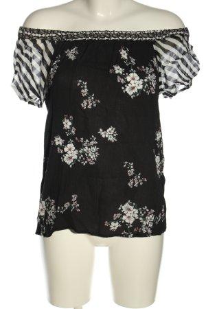 get it on Blouse à manches courtes noir-blanc motif de fleur