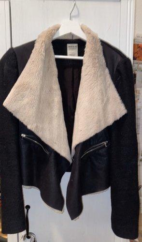 Zara Trafaluc Chaqueta de piel negro-blanco