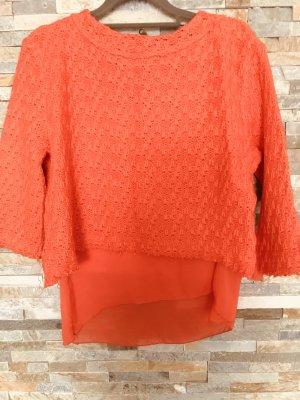 Gewebter Pullover mit Blusenunterstoff in S von Zara Knit