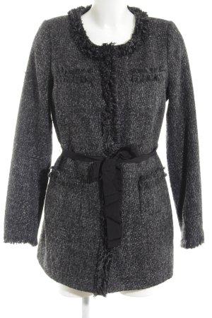 Gharani Strok Manteau court noir-gris clair moucheté style décontracté