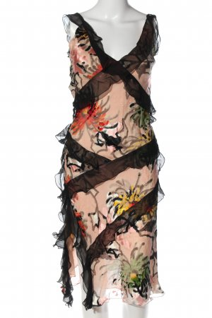 Gharani Strok Midikleid abstraktes Muster extravaganter Stil