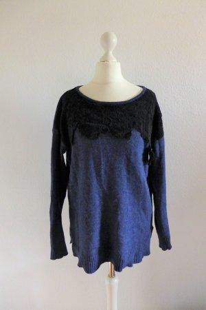 Gharani Strok Pulli Pullover Wolle Angora blau schwarz Spitze Gr. M 36 38