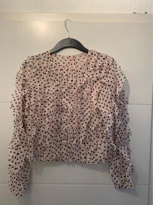 H&M Premium Ruche blouse licht beige-zwart