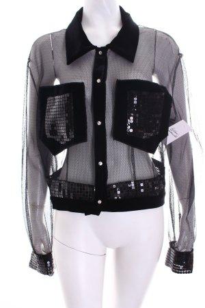 Giameo Langarm-Bluse schwarz extravaganter Stil