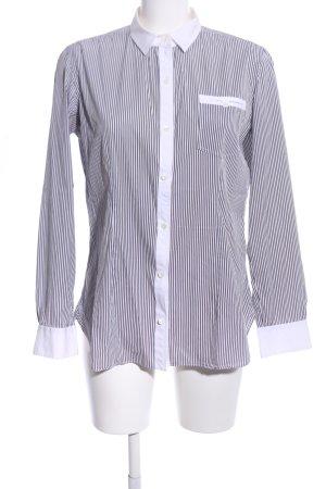 Giampaolo Langarmhemd weiß-schwarz Streifenmuster Business-Look