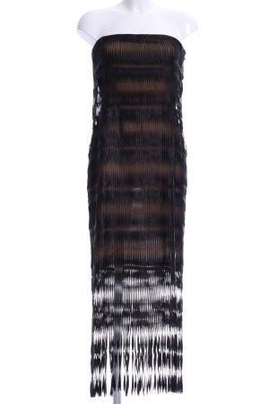 Gianfranco Ferré Corsagejurk zwart-lichtbruin abstract patroon elegant