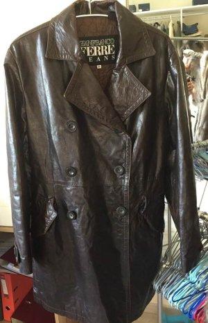Gianfranco Ferré Leather Coat dark brown leather