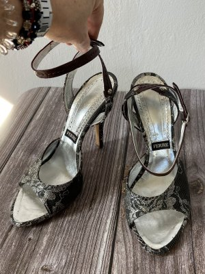 Gianfranco Ferré Strapped High-Heeled Sandals taupe-dark brown
