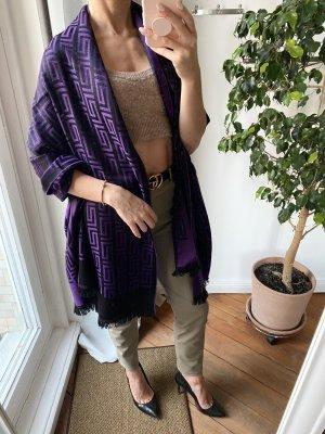 Gianni Versace Wollen sjaal lila-zwart Wol