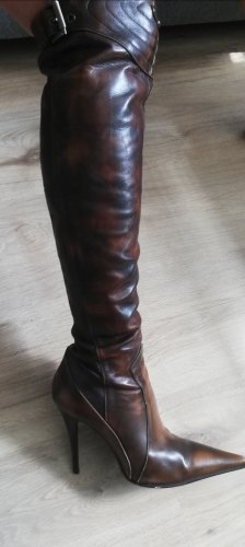 Gianmarco Lorenzi Wysokie buty na obcasie ciemnobrązowy-czarno-brązowy