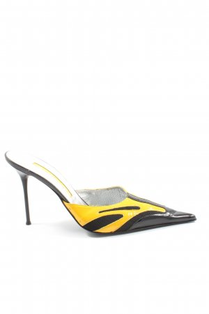 Gianmarco Lorenzi Spitz-Pumps schwarz-blassgelb grafisches Muster Casual-Look