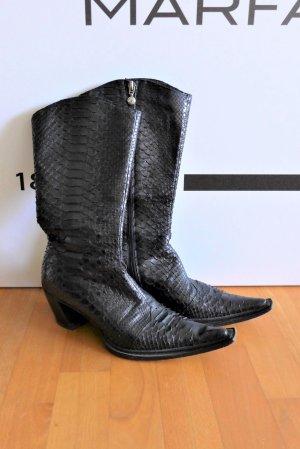 Gianni Bravo Leder Python Cowboy Stiefel Stiefeletten schwarz Gr. 37