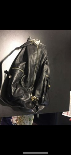 Gianni Versace Couture Vinta Pyramide Backpack Black Leather Medusa Sling Bag