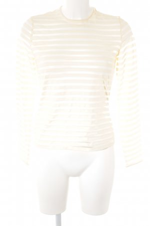 Gianni Versace Longsleeve creme Streifenmuster Materialmix-Look